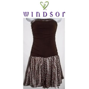 Windsor Brown Strapless Dress Size Small